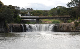 Haruru Falls from the lake